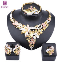 African Bridal Dubai Jewelry Sets Crystal Necklace Earrings Ring Bangle Nigerian Women Fashion Wedding Multicolor Jewelry(China)