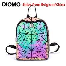 Diomo moda feminina mochila luminosa brilhando triângulo geométrico pequeno daypack para meninas bagpack rugzak