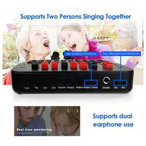 Image 5 - Bluetooth קריוקי קונסולת 20 אפקטים קוליים שידור KTV לחיות נפח מתכוונן חיצוני אודיו מיקסר כרטיס קול סטודיו