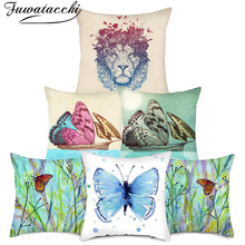 Fuwatacchi Lion Cushion Cover Lion Pattern Printed Pillows Covers for Home Chair Sofa Decorative Pillowcases Double fuwatacchi ocean mermaid starfish pattern cushion cover cartoon throw pillowcase for home sofa decorative pillows covers 30 50cm