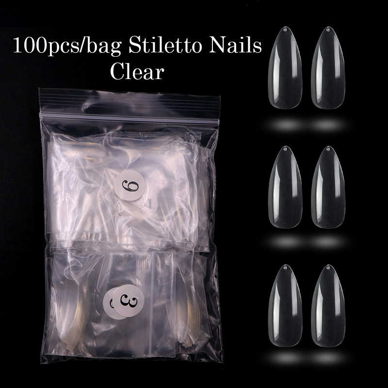 ยาวStiletto 100/500Pcsเล็บเคล็ดลับArt White/Clear/Natural Sharp Endเล็บปลอมเล็บปลอมเคล็ดลับเล็บเทียมเล็บSalon