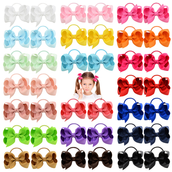 20Pcs/lot Solid Grosgrain Ribbon Bows For Baby Girls Ponytail Holder Hair Bands Elastic Rope Handmade Headband Hair Accessories 2