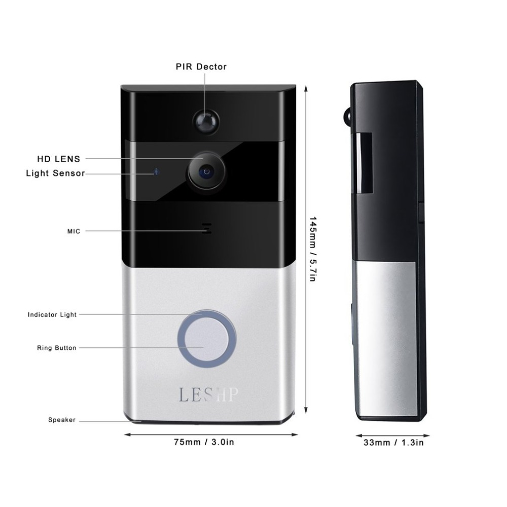 LESHP Video Doorbell 1080P Wireless WiFi Ring Door Bell HD 2.4G Phone Remote PIR Motion Two way Talk Home Alarm Security - 4