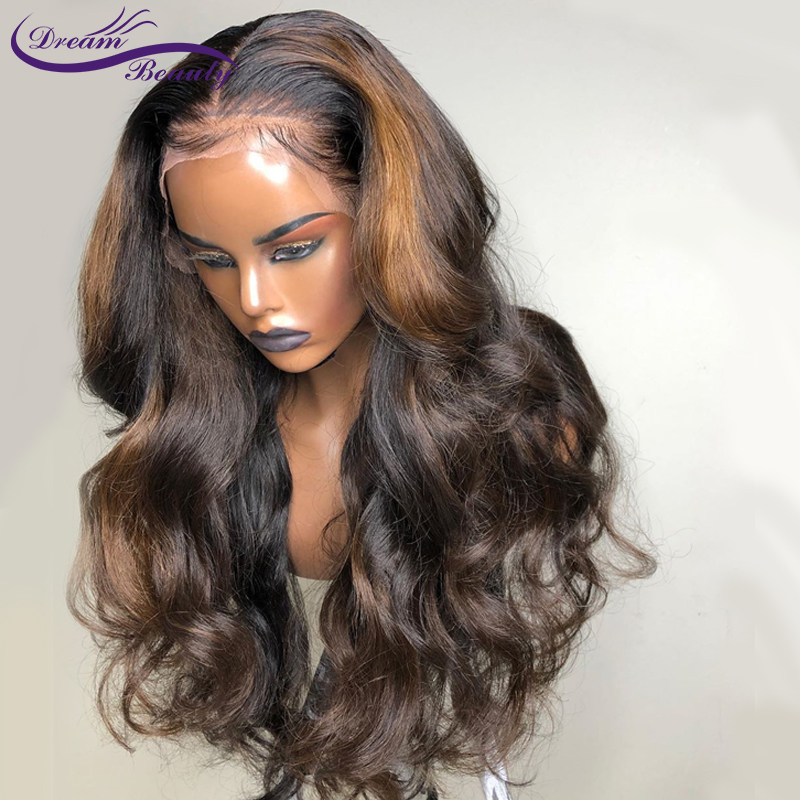 Highlight 13x6 Deep Part Lace Front Wigs Glueless Lace Human Hair Wigs Ombre Color Wigs Brazilian Remy Wavy Wig Dream Beauty