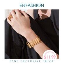 ENFASHION Punk wielowarstwowe wiersze bransoletka ze stali nierdzewnej złoty kolor warstwowe mankietów bransoletki bransoletki dla kobiet moda biżuteria B2024