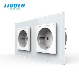 Livolo Power-Socket Glass-Panel Wall-Outlet Standard 16A Crystal EU of Manufacturer 12/13/15