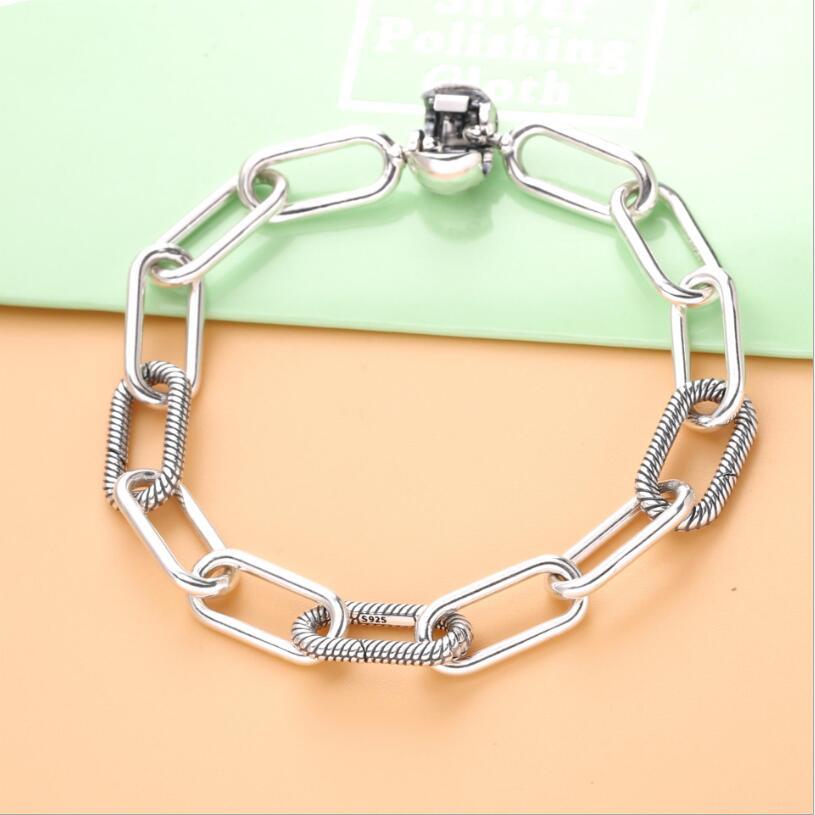 925 Sterling Silver Pandora Bracelet Me Link Snake Chain Pattern Circular Clasp Bangle Fit Women Bead Charm Fashion Jewelry(China)