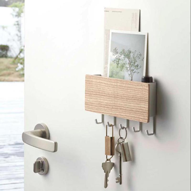 Multifunction Wood Wall Hanging Shelf Key Rack Decorative Sundries Storage Box Key Ring Hooks Clerk Housekeeper Wood Shelf