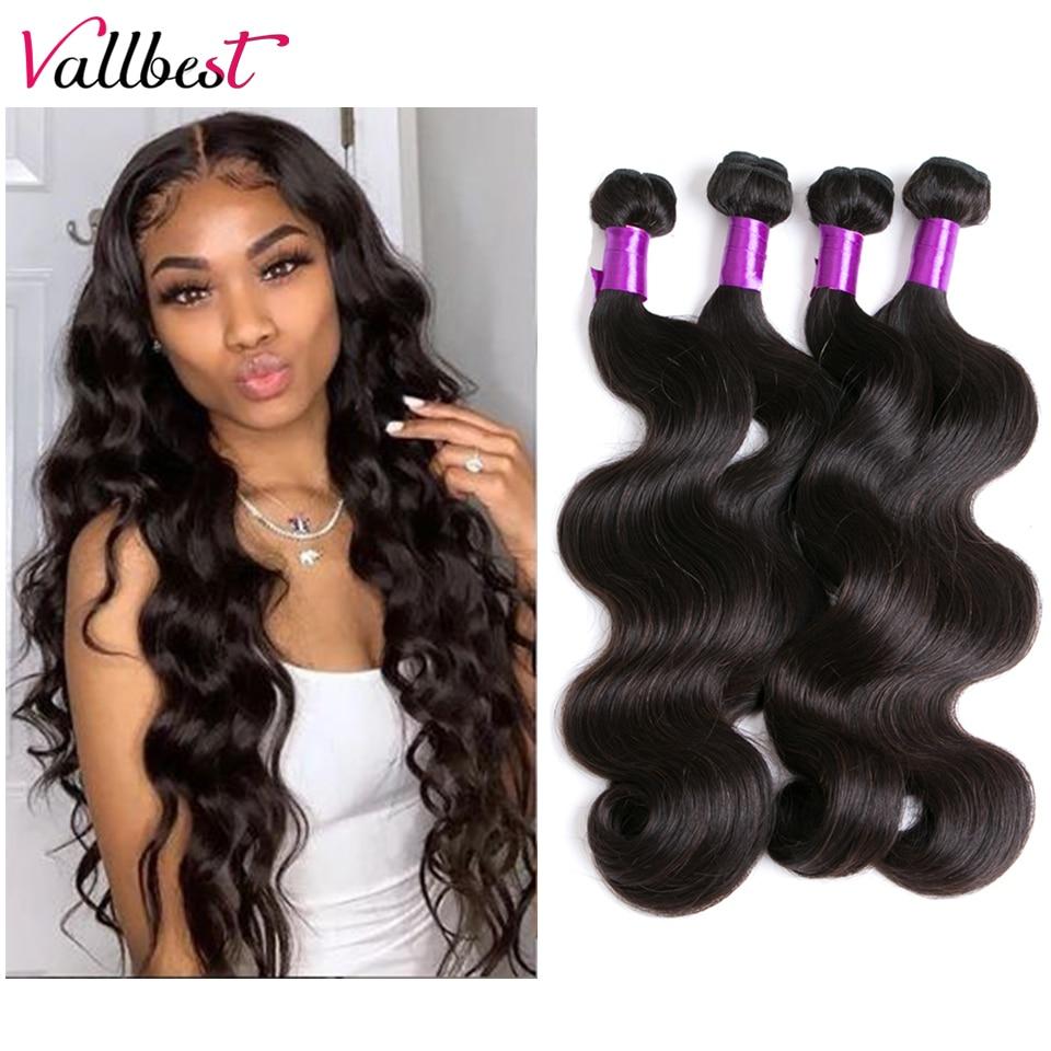 Перуанские волнистые пучки Vallbest, 100% натуральные человеческие волосы для наращивания, натуральный цвет, 100 г, двойные пряди, 3 или 4 пучка, сдел...