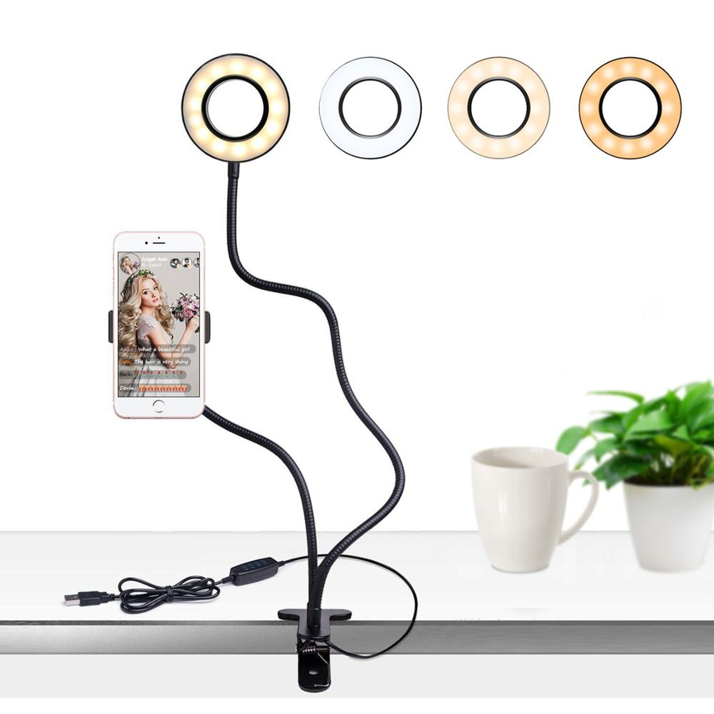 Hot Selling Live Stream With Mobile Phone Holder Led Selfie Light Portable Flexible Use For Video Call Make Up