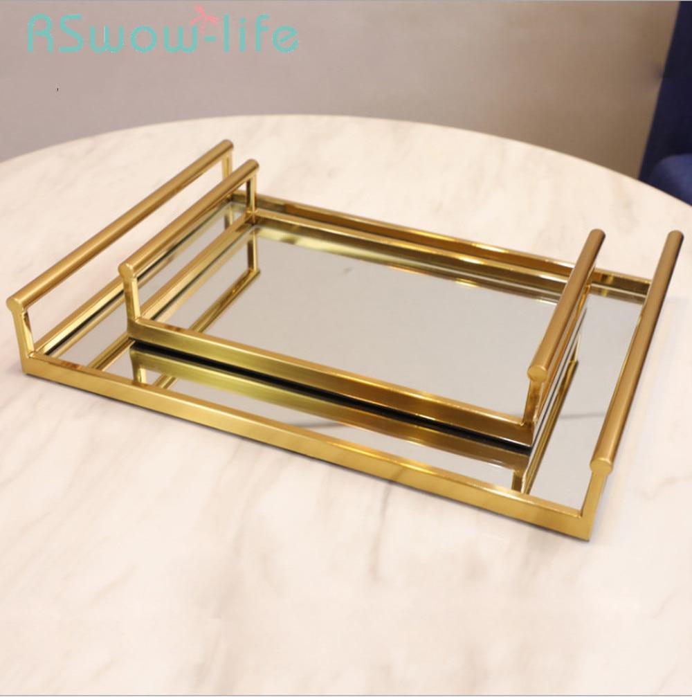 Bandeja de almacenaje de vidrio vintage n/órdico minimalista dorado bandeja de metal joyer/ía de la bandeja decoraci/ón del hogar