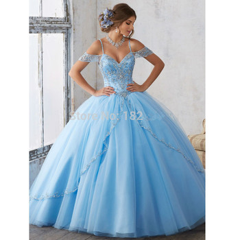 Sky Blue Quinceanera Dresses Ball Gown Spaghetti Straps Tulle Beaded Crystals Cheap Sweet 16 - discount item  10% OFF Special Occasion Dresses