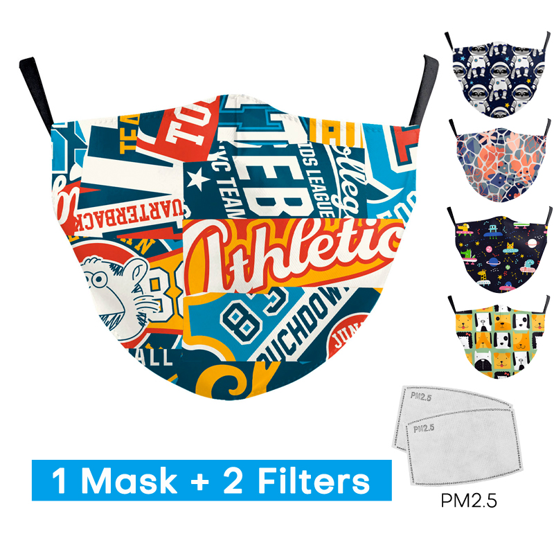 2020 Cool Kid Personality Fashion Print Mask With 2 Free Filter Proof Washable Adjustable Mouth Masks Protection PM2.5 Face Mask