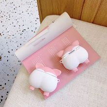 Cute Pig Butt Pattern Protective Case Soft Silicone Cover Shell for Airpods 1/2 3XUE