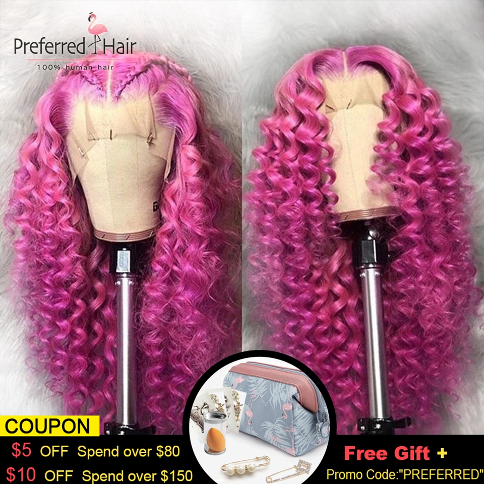 Preferred 13x6 Lace Front Wig Brazilian Remy Preplucked Curly Human Hair Wig Hot Pink Color Transparent Lace Wigs For Women