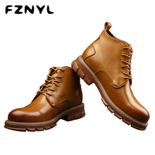 FZNYL 2019 Men's Autumn Winter Martin Boots New Trend Retro Genuine Leather Tide Footwear Male Breathable Heighten Tooling Shoes black high shoes male korean the tide fall back to the martin shoes new autumn winter british retro cowhide breathable sneaker