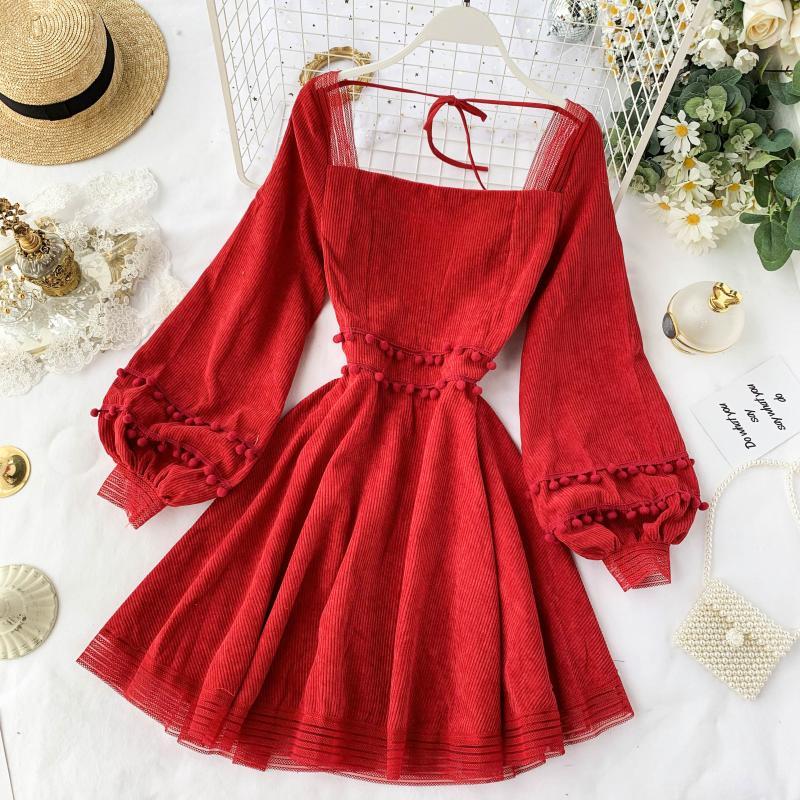 2019 New Fashion Women's French Retro Female Popular Temperament Square Collar Lantern Sleeve Red Dress