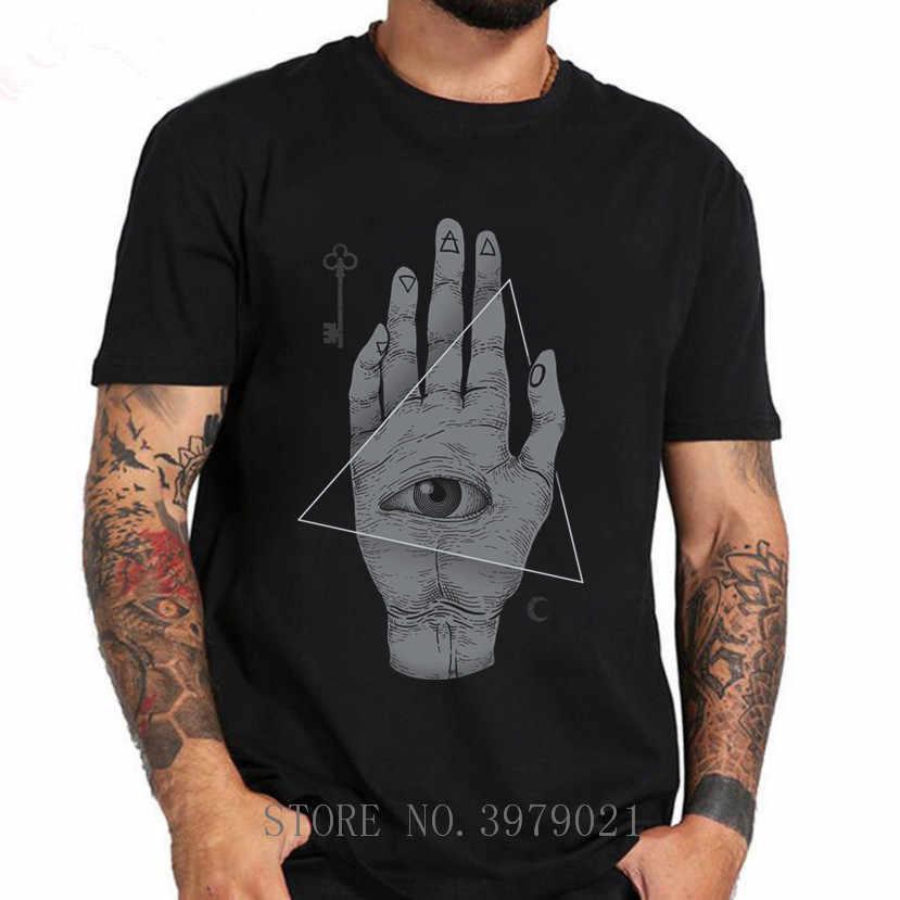 Penyihir Tangan Semua Melihat Mata Illuminati Desain Keren Pria T Shirt 2018 Musim Panas Anime T-shirt Hitam Putih Kaos