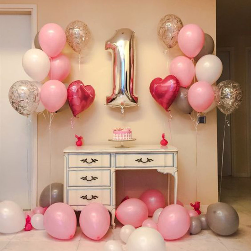 21pcs/lot 3th 4th 6th 7th <font><b>8th</b></font> Years Old <font><b>Birthday</b></font> Balloons Pink heart with 32 inch Number Balloon 1st <font><b>Birthday</b></font> Party Decoration image