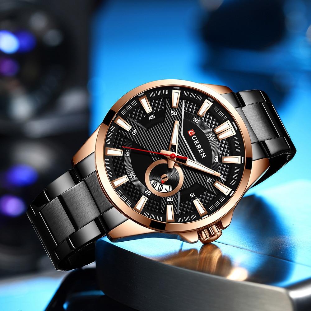 H2fb37a5b948c4546967f28fd14939a70k New Stainless Steel Quartz Men's Watches Fashion CURREN Wrist Watch Causal Business Watch Top Luxury Brand Men Watch Male Clock
