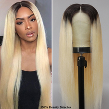 Human-Hair Blonde Lace-Front Wigs Pre-Plucked Straight Ombre Brazilian 150%Density 13x4