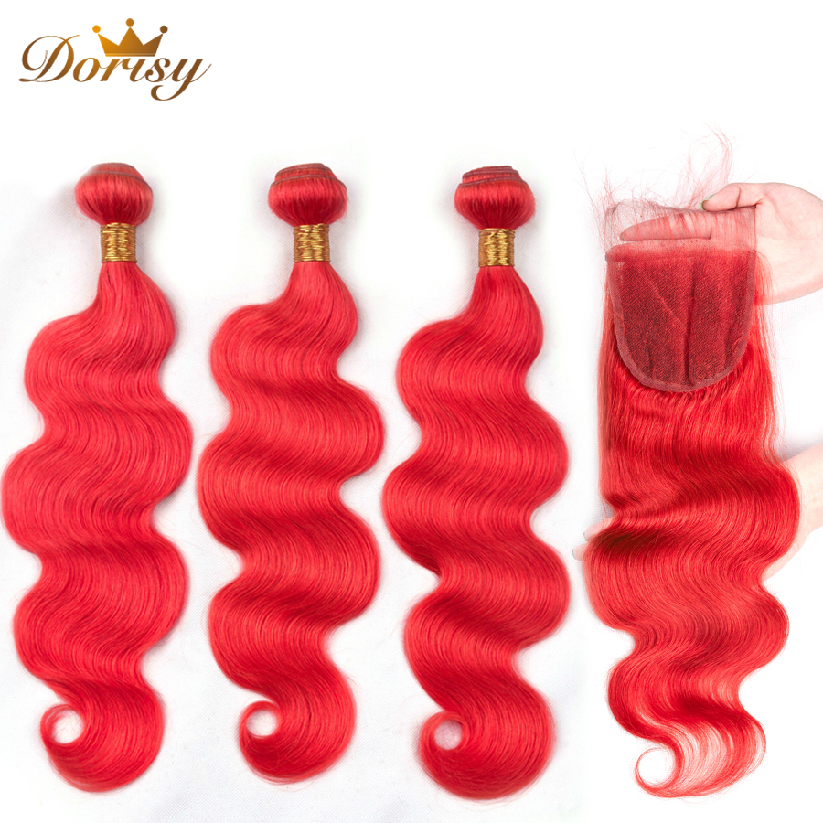 Pre Colored Hair Red Bundles With Closure Body Wave Remy Brazilian Human Hair Bundles With Lace Closure Dorisy Hair