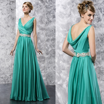 2015 new Jade V neck long mother of the bride dresses with lace sashes Floor-Length vestido de festa longo para madrinha MBD141 tea length mother of the bride dress with jacket long sleeves chiffon with beading appliques vestido de festa madrinha v neck