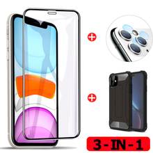 3 in 1 Camera Protector For iphone-11 Glass+For iphone11 Pro Max Armor Case +Tempered Glass For iphone 11 Screen Protector Glass airbag shockproof case tempered glass for iphone 11 pro 3 in 1 screen protector back film glass on iphone11 11 promax 3d glass