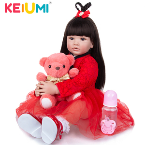 KEIUMI 60 CM Reborn Girl Doll Cloth Body Straight Hair Realistic Princess Bebe Reborn For Children Xmas Gift Playmate(China)