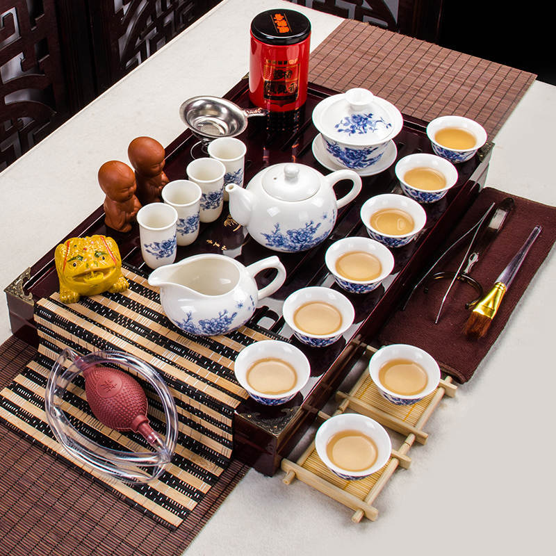 Excellent Purple Clay Kung Fu Tea Set Teapot Gaiwan Infuser Chahai Wooden Bamboo Tray Chinese Tea Ceremony Set