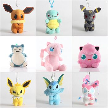 10cm  Jigglypuff Charmander Bulbasaur Squirtle Eevee Pokemoned plush toy For Children Activity gift small Soft Doll Anime 1
