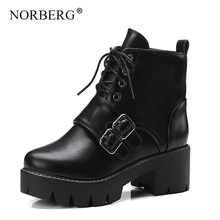 NORBERG autumn / winter Rubber sole women boots round head Martin boots thick with British wind retro belt buckle Lace-Up shoes autumn and winter high socks martin wear british wind trend wild casual outdoor desert boots