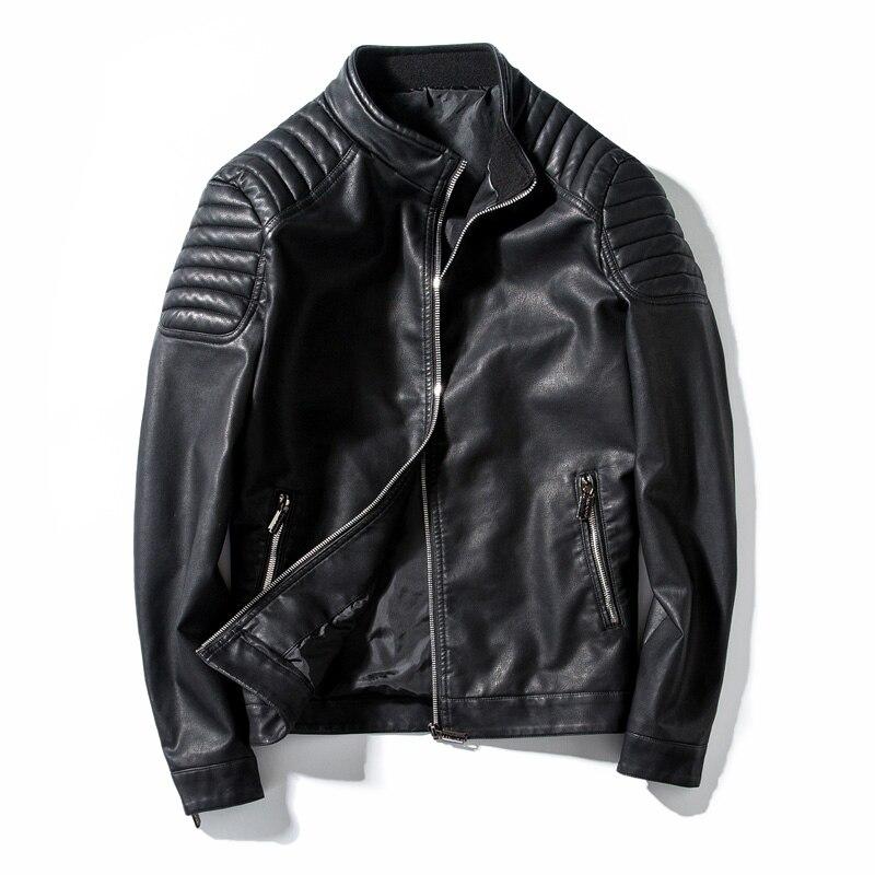 Primavera otoño chaqueta de cuero de motorista hombres abrigo de piel de la motocicleta PU Casual Slim Fit prendas de vestir masculino negro ropa de talla grande M-4XL, GA455