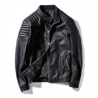 Spring Autumn Biker Leather Jacket Men Fur Coat Motorcycle PU Casual Slim Fit Outwear Male Black Clothing Plus Size M 4XL ,GA455