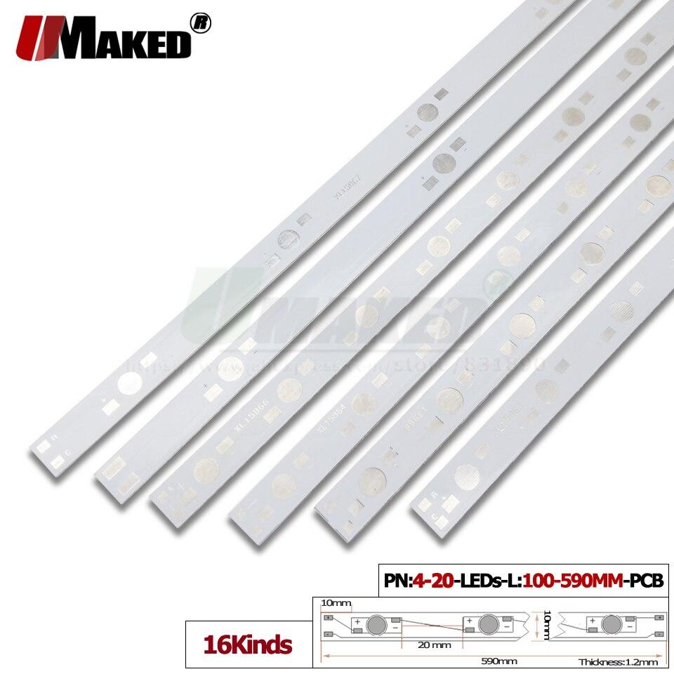 Led pcb l: 34-990mm placa de alumínio 1/3/5 w leds de alta potência instalado placa de luz do dissipador de calor hidroponia aquário tubo crescer luz diy