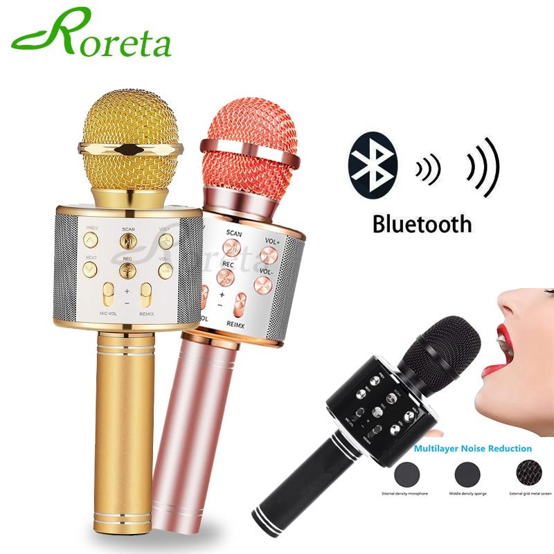 Roreta WS858 Bluetooth Wireless Microphone Speaker Professional Handheld Karaoke Mic Music Player Singing Recorder KTV Mic