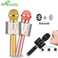 Roreta WS858 Bluetooth Wireless Microphone Speaker Professional Handheld Karaoke Mic Music Player Singing Recorder KTV Mic