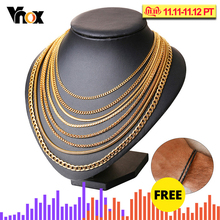 Vnox Men Women Necklace Gold Filled Tone Snake Miami Cuba Wheat Spiga Paima Link Round Box Curb Chain 24