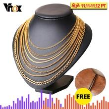 Vnox Men Women Necklace Gold Filled Tone Snake Miami Cuba Wheat Spiga Paima Link Round Box Curb Chain 24