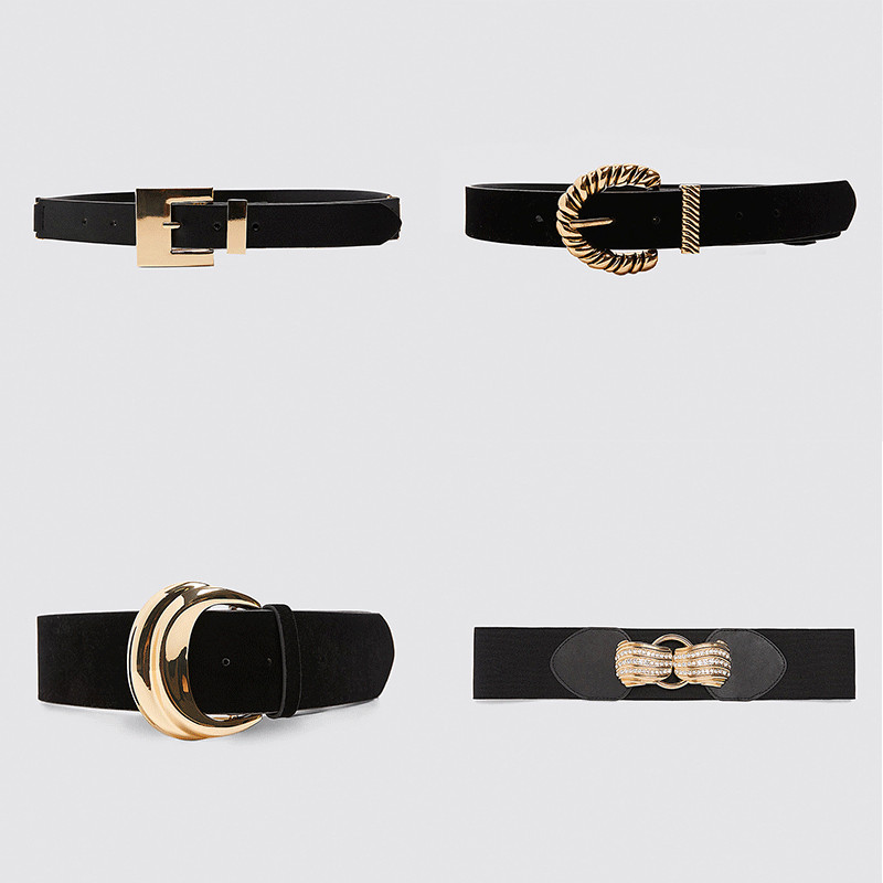 Dvacaman ZA Solid Gold Color Metal Buckle Belt For Women Trendy Black Leather Velvet Waist Belt Female Waistbands Gift Wholesale