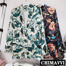 European 2020 Autumn New Lapel Long Sleeve Loose Color Painting Printing Suit Ja