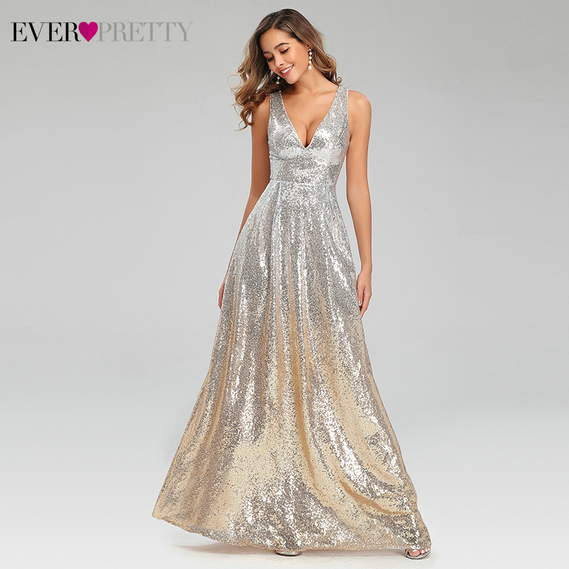 Sexy Silver Evening Dresses Ever Pretty A-Line Double V-Neck Sleeveless Sequined Long Sparkle Party Gowns Abiye Gece Elbisesi