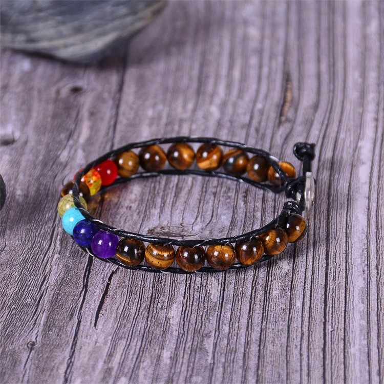 H2fb43fb9eb7b4d2d81c4b57f930b55b97 - New Colorful 7 Chakra Bead Leather Rope Braided Bracelet Natural Tiger's Eye Volcanic Stone Energy Yoga Bracelet Women Jewelry