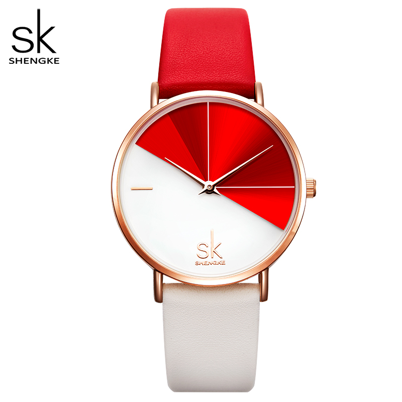 Shengke Fashion Women Dual Color Faux Leather Strap Round Dial Analog Quartz Wrist Watch Simple Quartz Watch Dating Gift Watch
