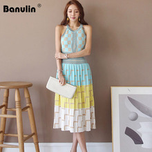 Banulin 2019 New High Quality Summer sleeveless geometry Knitted Dress Women Slim Holiday Dresses Vestidos