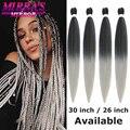 Зеркальные плетеные удлинители волос Mirra's с эффектом омбре, длинная плетеная тесьма 30 дюймов 26 дюймов, предварительно растянутая крупная те...