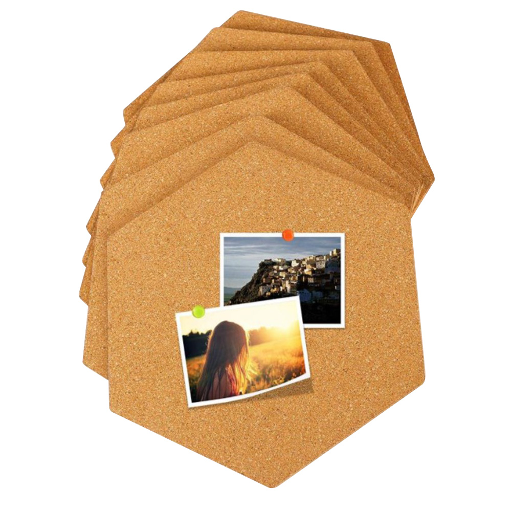 4Pcs Hexagon Decoration Drawing Wall Message Cork Board Self Adhesive Multifunction Photo Background Stickers Bulletin Office