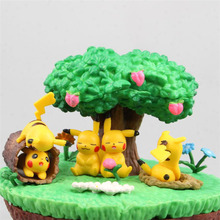 Takara  Cute Anime Pikachu in the Sunny Forest Ball POKEMON Figure Model Toys with Action Gifts