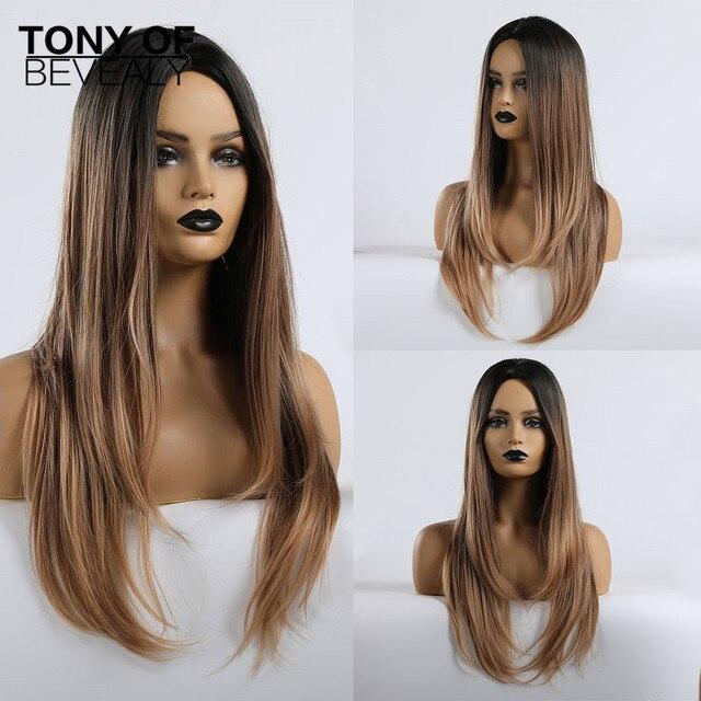 Lange Synthetische Wellenförmige Ombre Hellbraun Mittleren Teil Natürliche Haar Perücken Für Frauen Afrikanische Amerika Wärme Beständig Faser Perücken