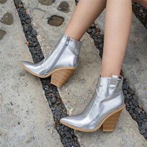 Image 5 - FEDONAS חורף נקבה בתוספת גודל שמנמן עקבים מסיבת לילה מועדון נעלי אישה מותג נשים עור קרסול מגפי קלאסי מערבי מגפיים